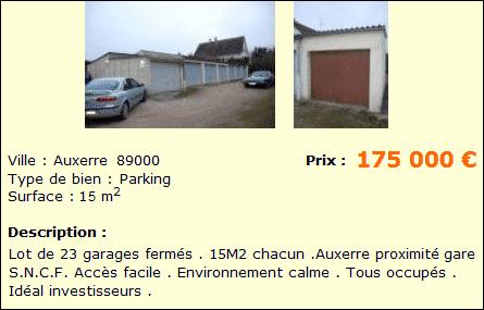 Annonce de 23 garages à vendre sur Auxerre