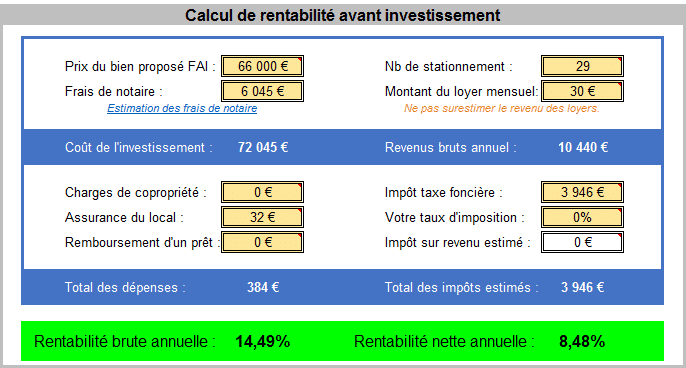 Calcul de rentabilité lot de 29 garages