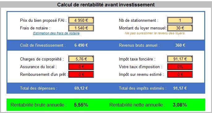 Analyse lot parkings à vendre sur Dijon