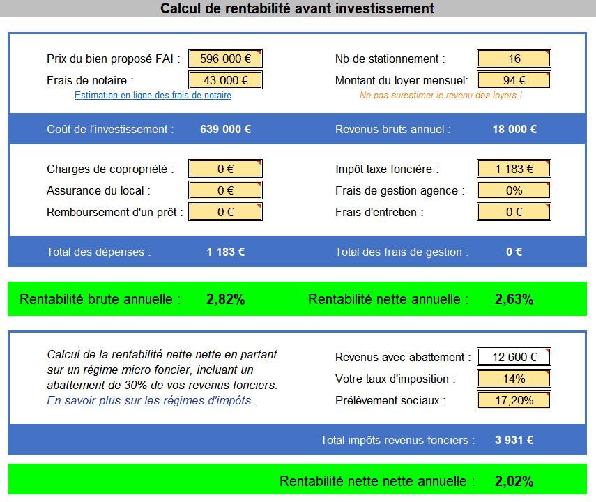 Simulation de la rentabilite du lot de garages a Decises Charpieu