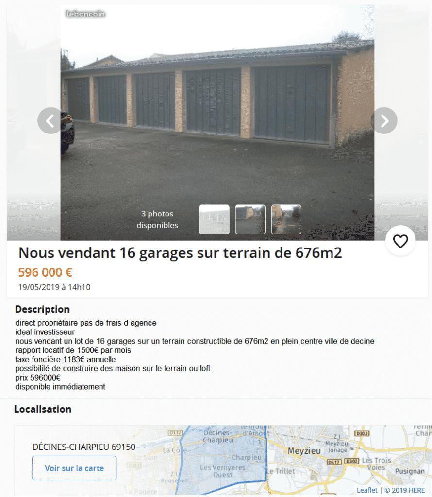 Batterie de garages à vendre sur Décines-Charpieu